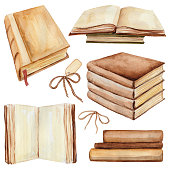 Watercolor set of books