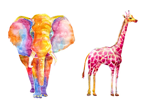 Watercolor set of bright colored giraffe and an elephant from multi-colored spots on a white background isolated