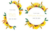 istock Watercolor set of floral border and frames with sunflowers isolated on white background for cute postcard, logo, wedding invitations, greeting cards, business card. Sun flower 1306437727