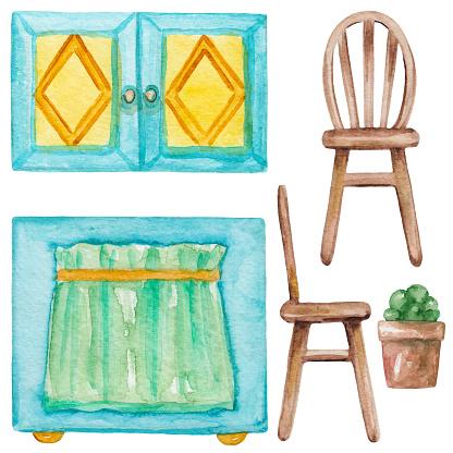 Watercolor set of  furniture