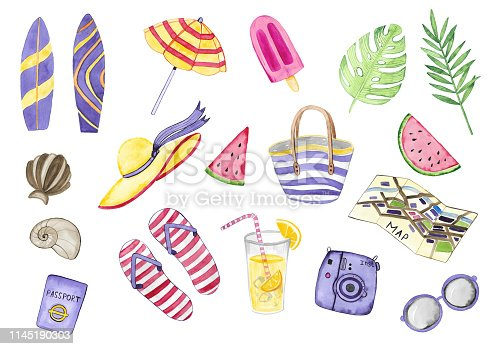 Watercolor set of holiday elements. Summer time. Beach design