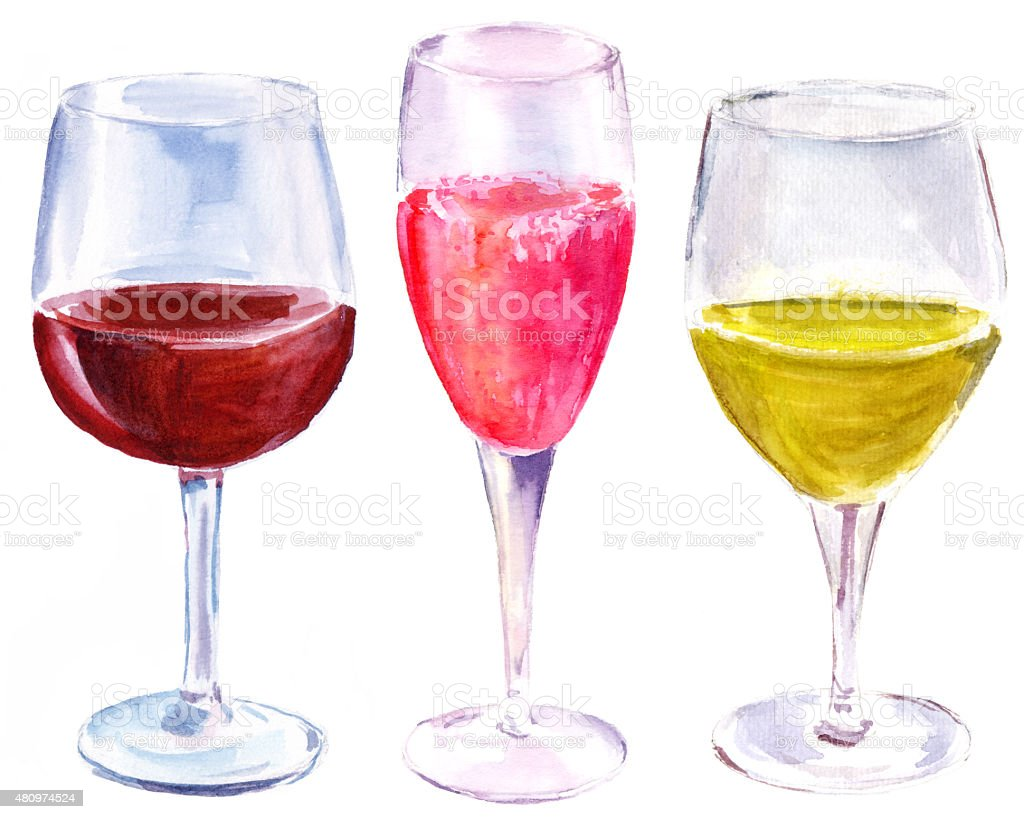 Watercolor set of three wine glasses on white background vector art illustration