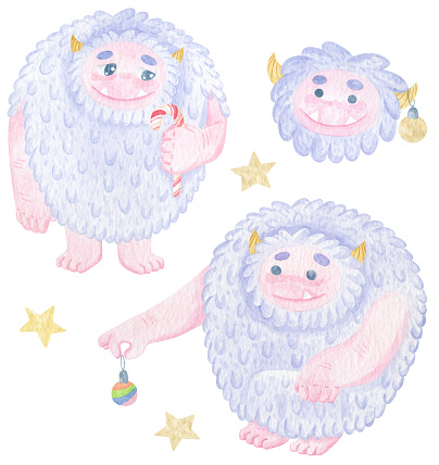Watercolor set with cute yeties with Christmas toys and stars. Ho ho ho. Winter cartoon yeti print. New Year print on t-shirt, stickers or poster. Good monsters.