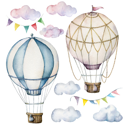 Watercolor set with hot air balloons and garland. Hand painted sky illustration with aerostate, clouds and flags isolated on white background. For design, prints, fabric or background.