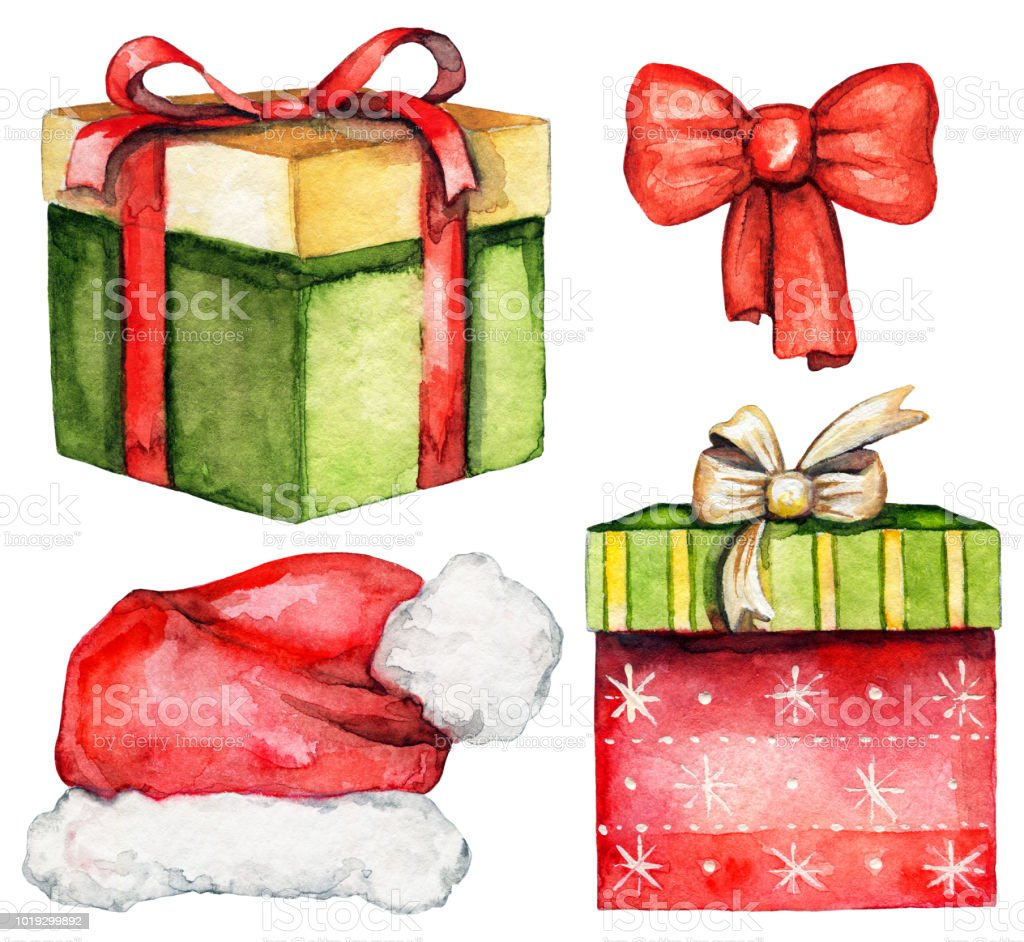 Watercolor set with two gift boxes, Santa Claus hat and bow vector art illustration