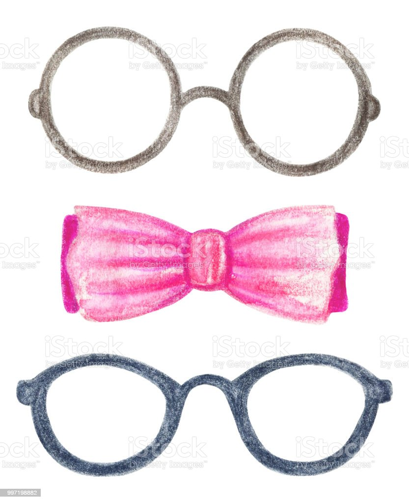 3306da93569 Watercolor set with two pairs of glasses and a bow tie royalty-free  watercolor set