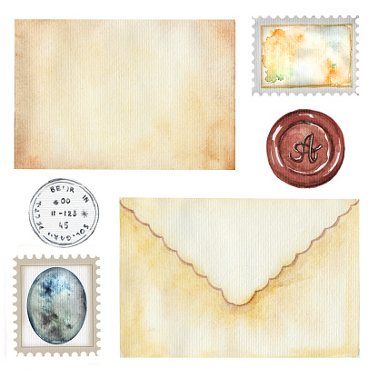 Watercolor set with vintage letters and stamps