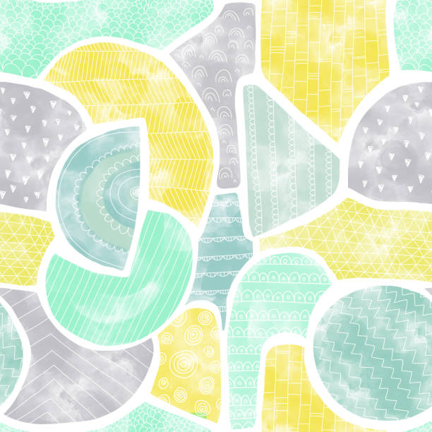 Watercolor shapes Seamless abstract pattern. Doodle shapes aqua, teal, green, gray, yellow background. Modern gender neutral colors. Puzzle mosaic style. For fabric, kids decor, wallpaper, card, paper vector art illustration