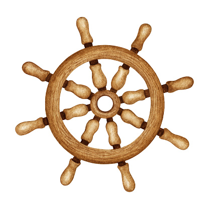Watercolor Ship Wooden Steering Wheel. Nautical vessel part, vintage  Navigation equipment. Maritime Sea traveling clipart. Hand drawn design element isolated