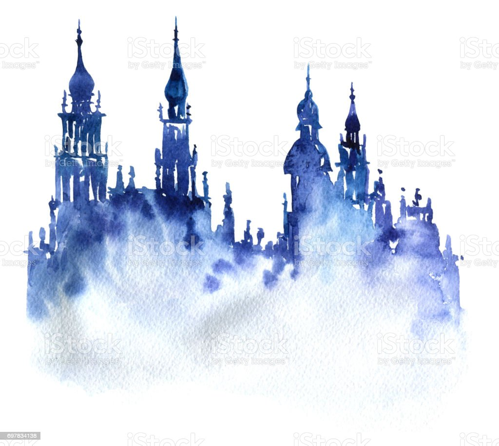 watercolor silhouette of city vector art illustration
