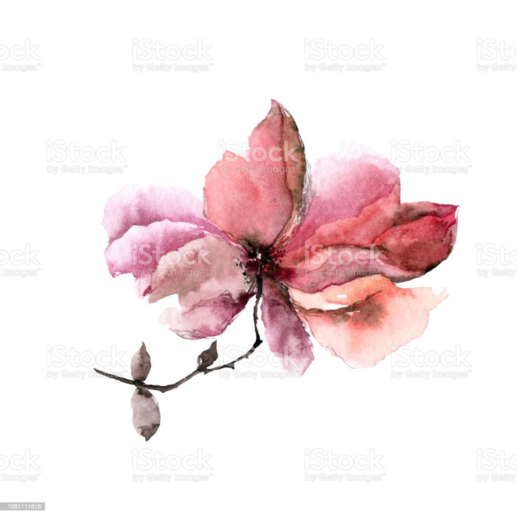 Watercolor Single Flower Autumn Greeting Card Pink For Wedding Invitation Design Royalty