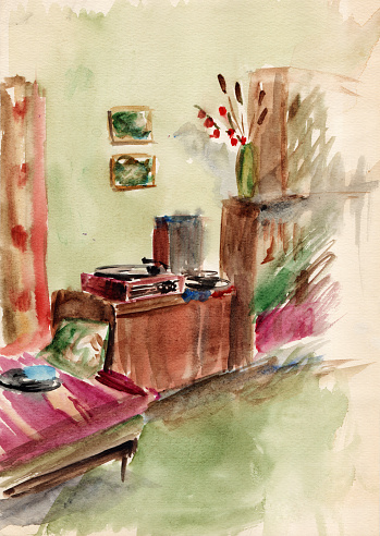 Watercolor sketch drawing of the small soviet apartment interior. Living room, cabinet with old vintage turntable, vinyl records, bookshelves, couch with woven rug, green carpet on the floor
