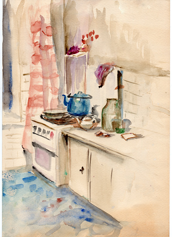 Watercolor sketch drawing of the vintage interior of a residential small soviet apartment kitchen. Gas stove with blue tea pot and frying pan, tiles wall, chintz ornate window curtain