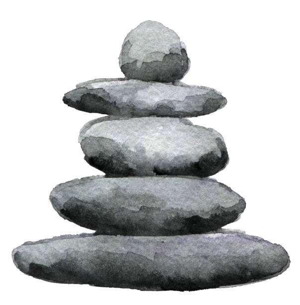 watercolor sketch of balanced stone pyramid isolated on white background - pebbles stock illustrations, clip art, cartoons, & icons