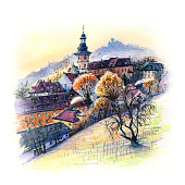 Watercolor travel sketch of Old town of Bamberg with church and vineyard, Bavaria, southern Germany