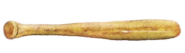 watercolor sketch of baseball bat on white background vector art illustration