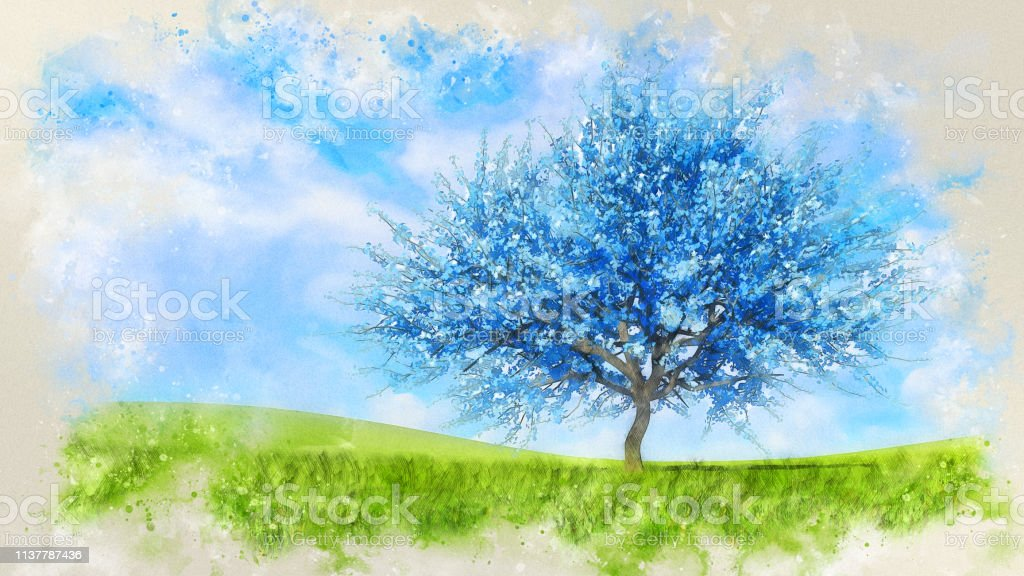 Fantasy spring landscape in a watercolor style with surreal blue...