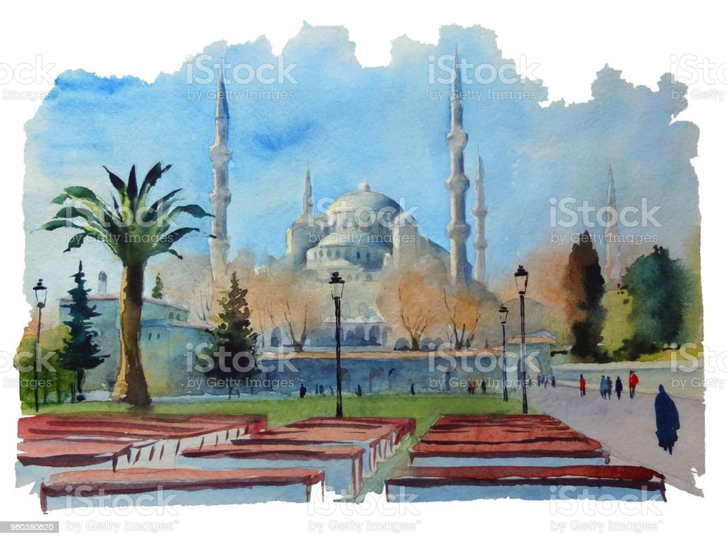 Sultanahmet Camii Suluboya Cizimi Stok Vektor Sanati Cami Nin