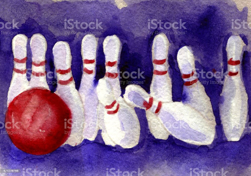 watercolor sketch of bowling pin and ball on white background vector art illustration