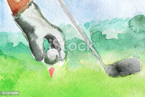 watercolor sketch of golf ball in his hands