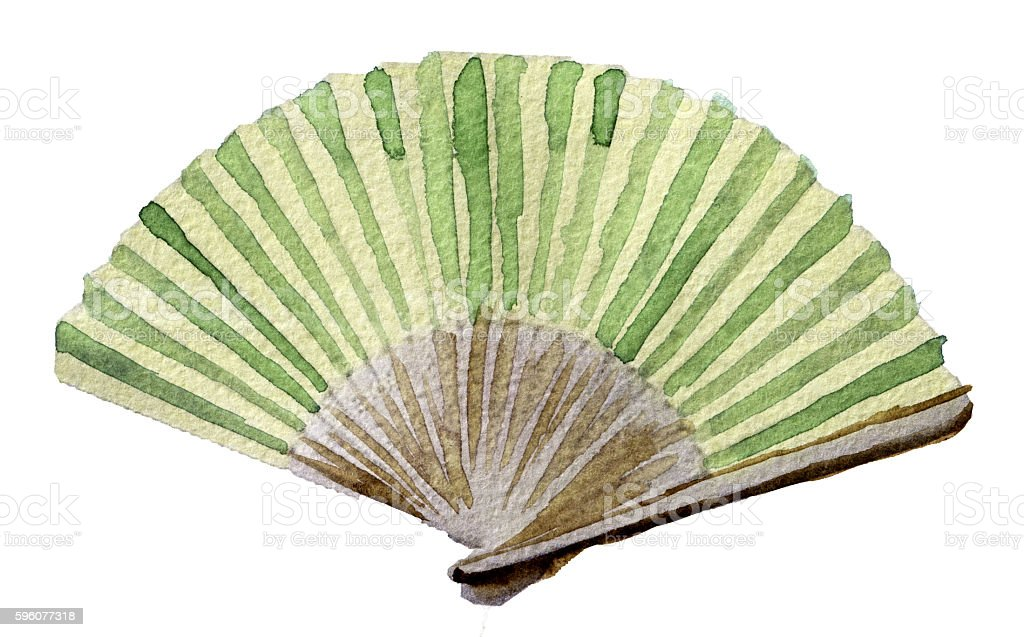 watercolor sketch of hand fan on white background royalty-free watercolor sketch of hand fan on white background stock vector art & more images of cut out