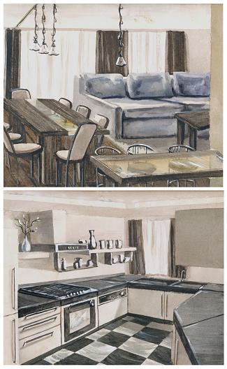 watercolor sketch of interior
