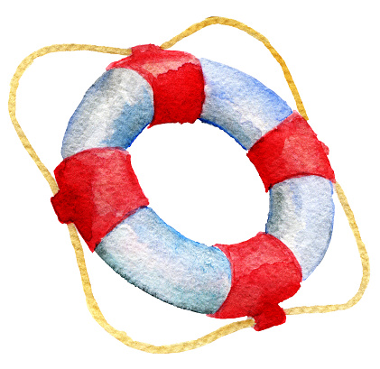watercolor sketch of lifebuoy on white background