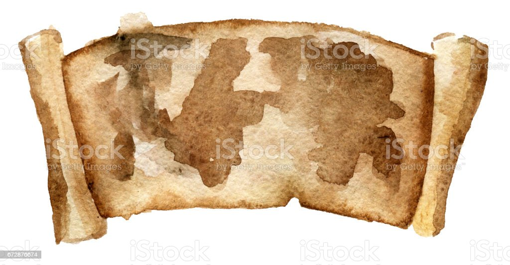 watercolor sketch of map on parchment isolated on white background vector art illustration