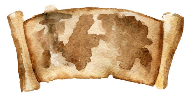 watercolor sketch of map on parchment isolated on white background watercolor sketch of map on parchment isolated on white background declaration of independence stock illustrations