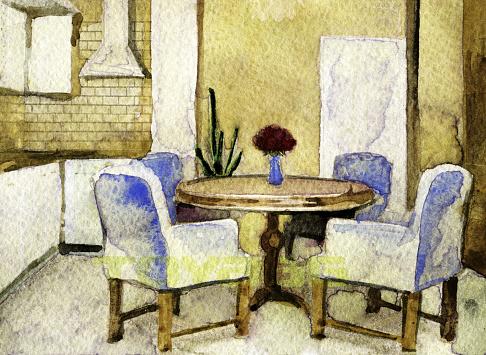 watercolor sketch of modern kitchen interior
