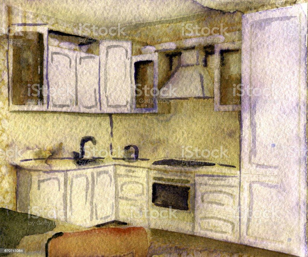 Esbo O Em Aquarela De Cozinha Moderna Sobre Fundo Branco Vetor E