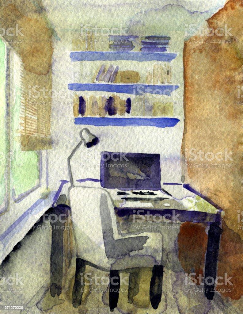 Modern Ofis Beyaz Zemin Uzerine Suluboya Cizimi Stok Vektor Sanati