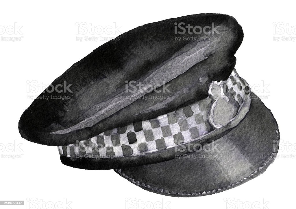 watercolor sketch of police cap on white background royalty-free watercolor sketch of police cap on white background stock vector art & more images of badge