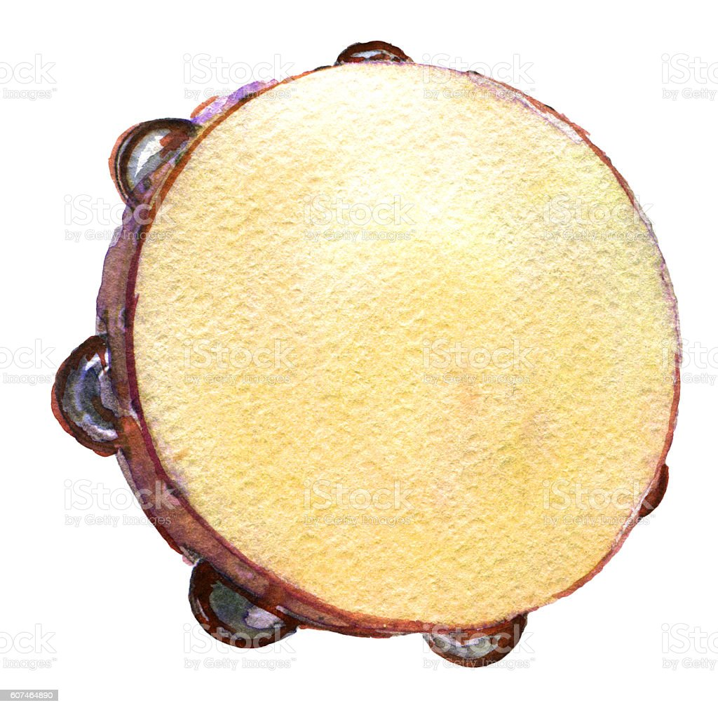 watercolor sketch of tambourine on white background vector art illustration