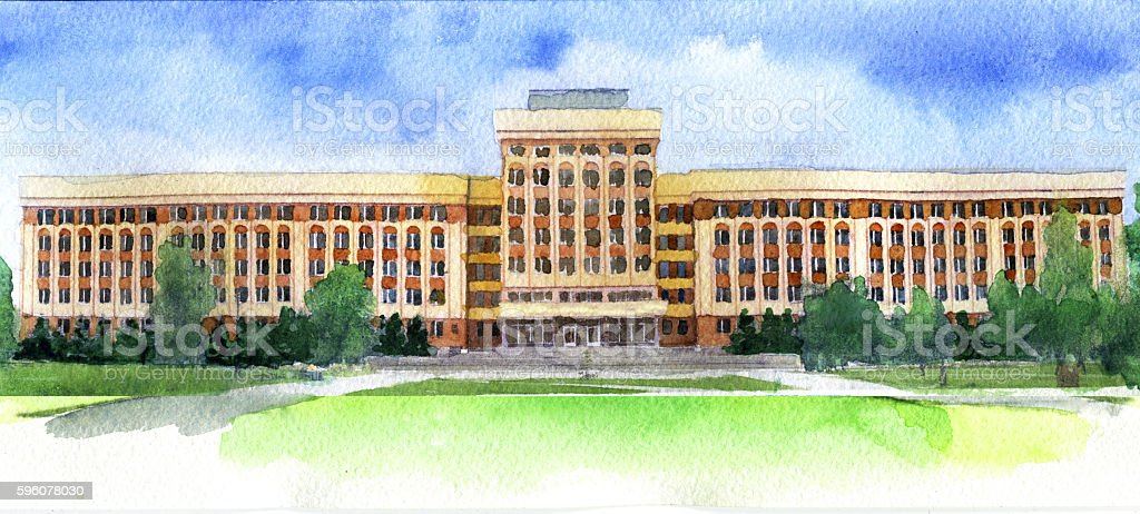 watercolor sketch of university on white background royalty-free watercolor sketch of university on white background stock vector art & more images of architecture