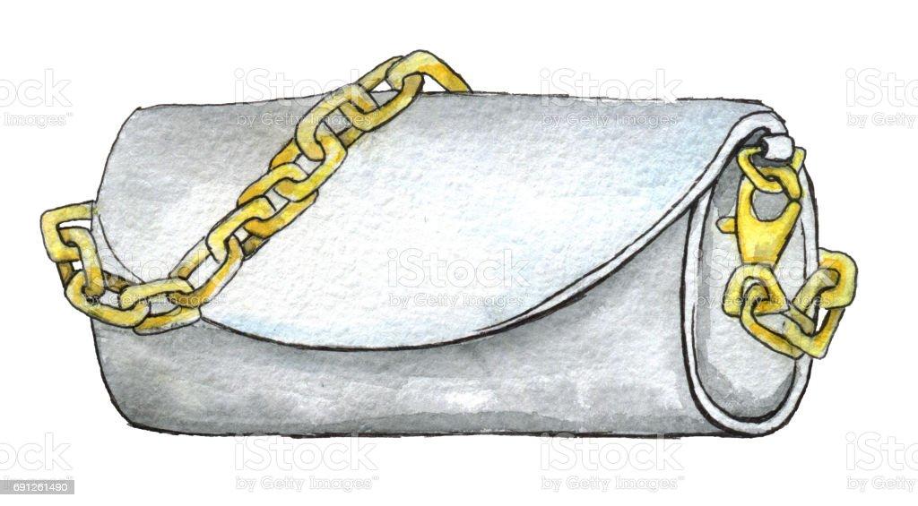 240db34c2b34e Beyaz arka plan üzerinde izole Altın zincir ile beyaz debriyaj suluboya  çizimi royalty-free beyaz