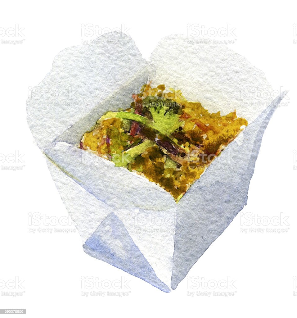 watercolor sketch of wok on white background royalty-free watercolor sketch of wok on white background stock vector art & more images of box - container