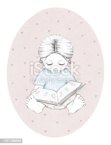 Watercolor sketch with baby girl holding book on oval pink background