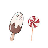 istock Watercolor sketch,illustration with red  candy and chocolate ice cream on a stick. 1194088437