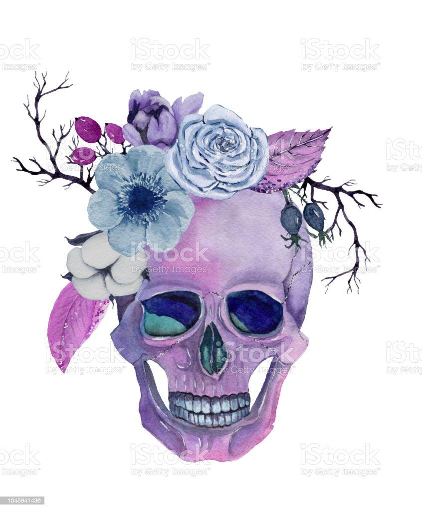 Ilustración De Acuarela Calavera Con Flores Mano Dibuja La