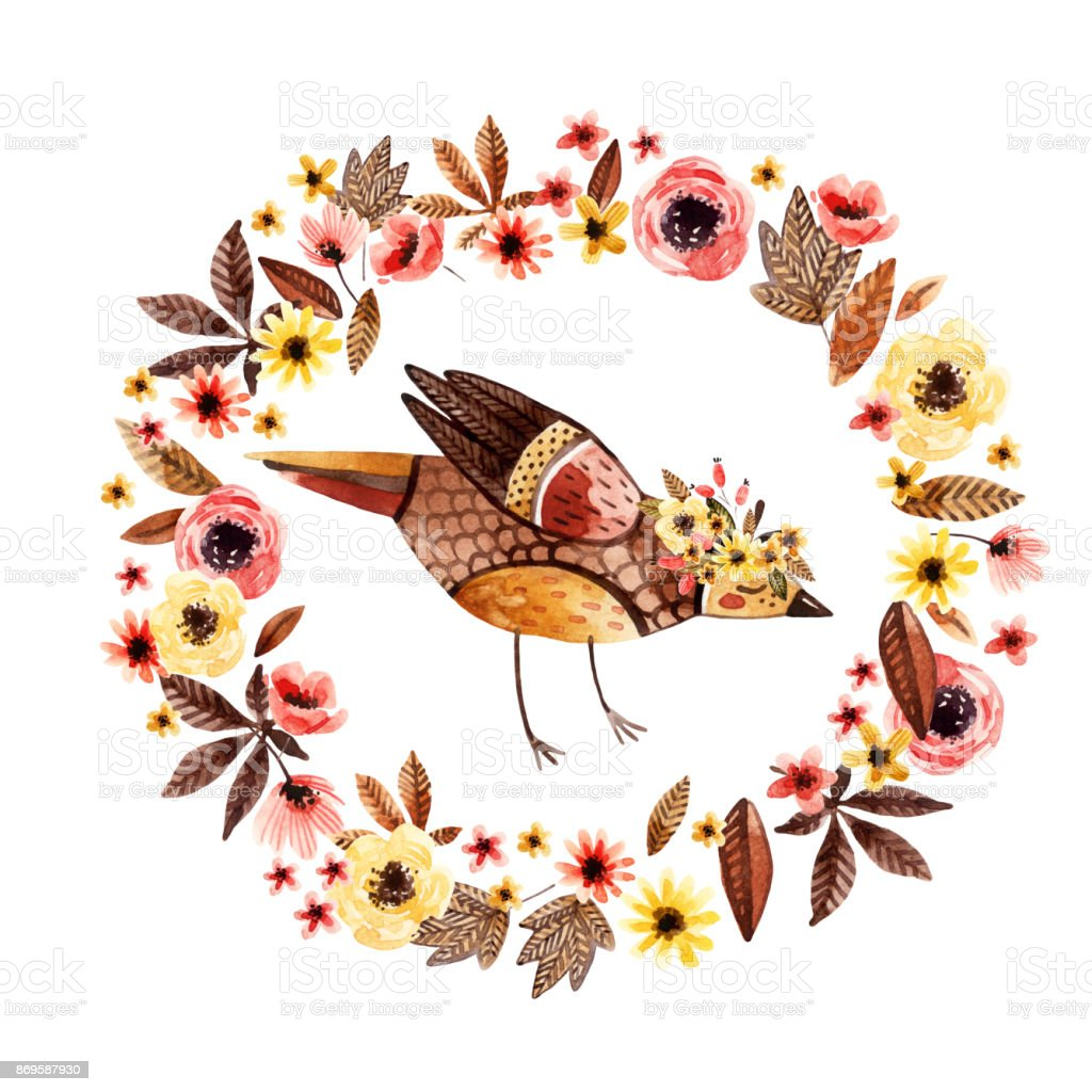 Watercolor small bird among flowers isolated on white background. vector art illustration