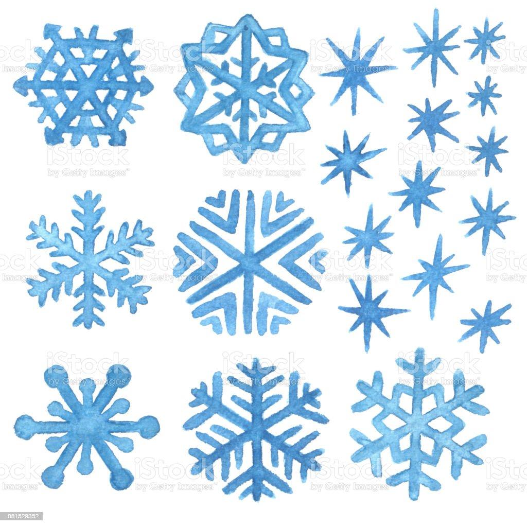 Aquarell Schneeflocken Und Sterne Weihnachten Und Neujahr ...