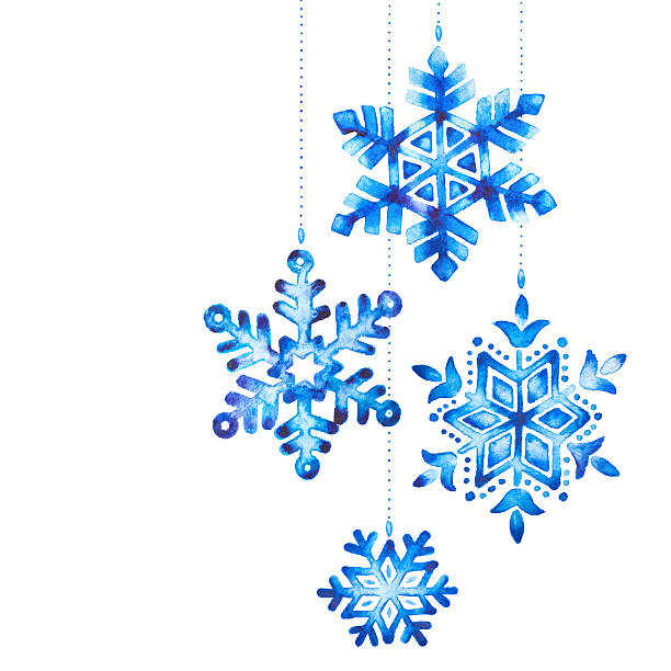 Watercolor snowflakes vector art illustration