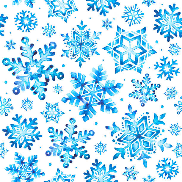 Watercolor snowflakes seamless pattern vector art illustration