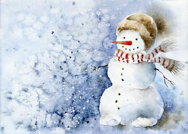 illustrazioni stock, clip art, cartoni animati e icone di tendenza di watercolor snowman in scarf and hat. christmas watercolor illustration - mika