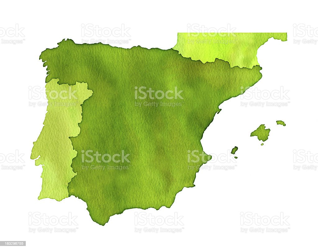 Watercolor Spain map royalty-free stock vector art