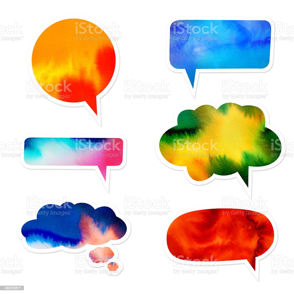 Watercolor Speech Bubble Set royalty-free stock vector art