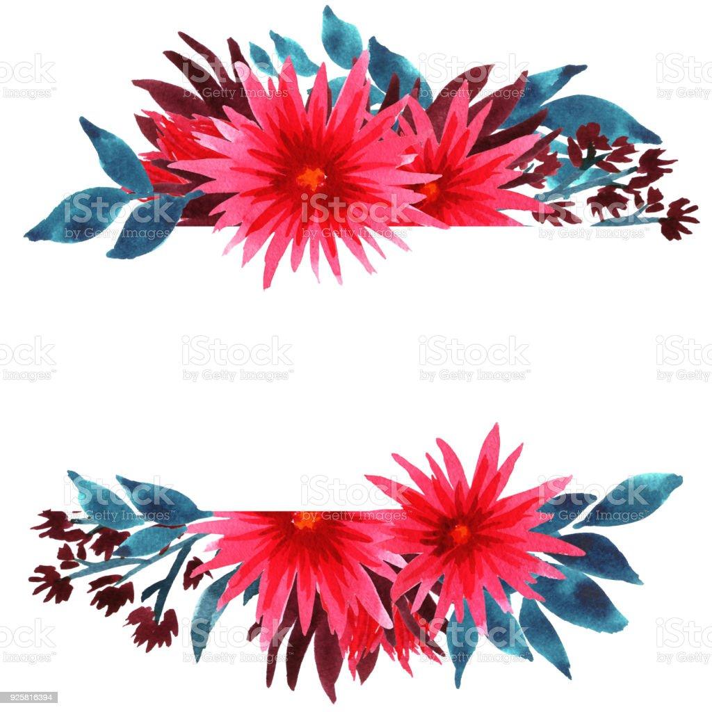 Aquarell Spider Blumen Rahmen Blumen Vorlage Karte Mit Rosa ...