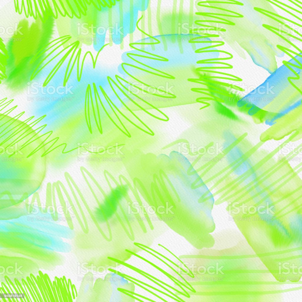 Watercolor Splashed Abstract Spring Geometrical Background