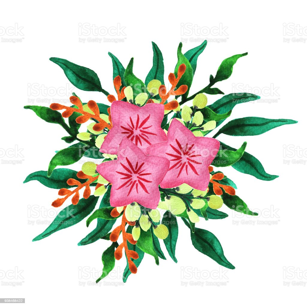 Watercolor Spring Flowers And Leaves Bouquet Lush Green Vegetation